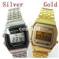 Wholesale 5pcs onsale Japan brand watch159 Gold Silver watches Men women electronic meter watches f watches silicone E01009