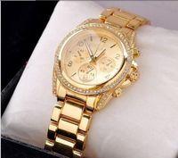 Wholesale New Luxury brand Rose Gold Steel Quartz casual watches women rhinestone dress wristwatch lady men military watch