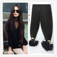 Brazilian Hair Black Straight 18-28inches #1b Brazilian Virgin human hair straight Flat tip hair extension,1g 1strand 100g pc 3pcs lot