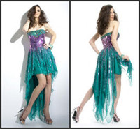 Cheap Reference Images prom dress hi lo Best Strapless Chiffon Sequins party dress