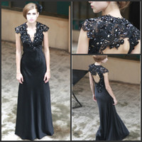 Wholesale 2014 New Arrival Elegant Mermaid V Neck Long Prom Dresses Satin Lace Applique Beads Backless Floor Length Prom Gowns