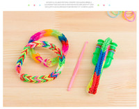 Stone Fashion Bracelets Wholesale-MN-2014 New Hot Toy Looming Kits Rubber Loom Bands Refills Diy Bracelet Gift for Children Toy 6 pieces lot yy-008