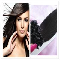 Brazilian Hair Black Straight Free Shipping 100g 1Pc Flat Tip Hair Extension I Stick Human Hair Extensions 100% Brazilian Remy Virgin Hair
