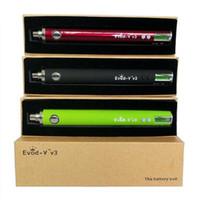 Wholesale LCD Screen mAh Evod VV3 Battery evod V v3 Variable Voltage V Passthrough Battery evod vv3 for MT3 LED tank DHL