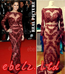 Wholesale Real Images Cheryl Cole Zuhair Murad Dress Cannes Red Carpet Sexy Burgundy Lace Celebrity Dress Evening
