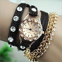 Envío gratuito de 2014 moda últimas Popular estilo hawaiano Rhinestone cuero larga eslinga cadena cuarzo reloj mujeres brillantes