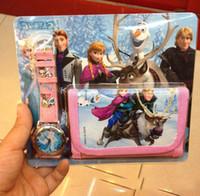 Wholesale 2014 Hot sale Frozen Anna Elsa Sets Watch and Wallet in Purse Kids Fashion Quartz Cartoon Candy Cute Lovely Boy Girl Children Watch