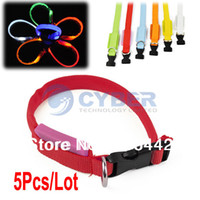 Wholesale 5Pcs LED Dog Collar Night Safety Flashing Light Pet Collar Adjustable Cat Collar Colors B16