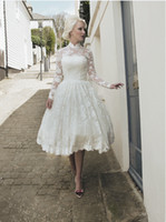 Wholesale 2014 Gorgeous Short Lace Backless Wedding Dresses High Collar Tea Length Long Illusion Sleeve Ball Gown Bridal Gowns