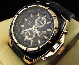 Promotion montre homme v6 Vogue V6 Strips Hour Marks Montre à cadran rond en silicone Men Man Fashion Sport Montre à quartz pour cadeau