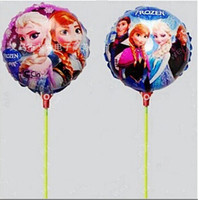 Wholesale New Arrival Frozen Ice Princess Cartoon Aluminum Foil Inflatable Balloon With Stick For Birthday Party Decorations Kids Toys