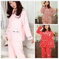 Wholesale Pijama Pajamas Bathrobe Pajamas for Women The Robe Nightgown Qiu Dong Flannel Leisure Coral Long sleeved Leisurewear Suit