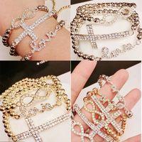 crystal stretch bracelet - Fashion Infinity Love Cross Charm Bracelets Gold Silver Color Pearl Style Crystal Stretch Bangles Beaded Strands Bracelet Rhinestone DHL