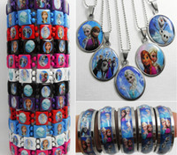 Wholesale 27 in Frozen Jewerly Set wood bracelets amp SS pendant necklaces amp SS rings Party Favor bag