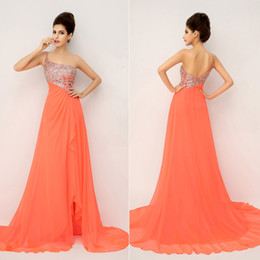 Wholesale 2014 New Hand made Sequins Cheap Fashion Sexy Prom Dresses Chiffon Crystal One Shoulder Side Slit Bridal Party In Stock Evening Gowns XU014