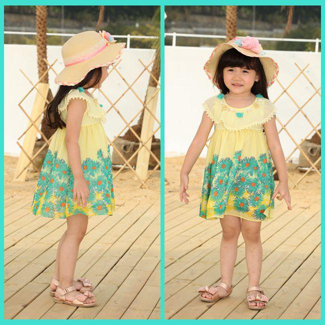 Cute Baby Girl in Yellow Dress Girls Yellow Dresses