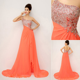 Wholesale 2014 New In Stock On Hand Cheap POrange Fashion Sexy Prom Dresses Chiffon Crystal Beaded One Shoulder Side Slit Bridal Party Evening Gowns