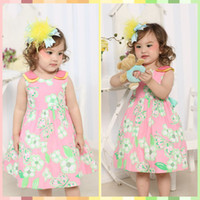 Wholesale Baby summer clothes Cotton Fabric with design white floral print dresses Peter pan collar korean children clothing