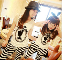 Wholesale Mother And Daughter Family Set Princess Head Cotton T Shirt Harem Pants set Stick Stripe Mom and Baby Dress Summer Clothing D098