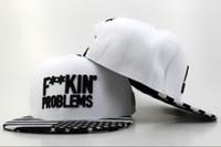 Wholesale CAYLER amp SON Snapback Hat F KIN PROBLEMS Snapbacks White Snap Back Hats Ball Snap Backs Caps Cheap Womens Mens Hip Hip Cap Sports Caps