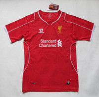 Wholesale 2014 Liverpool Home Soccer Jerseys Top Thai Quality Soccer Uniform Kits Football Club Jerseys Custom Made Soccer Apparel