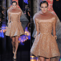 Reference Images Strapless Tulle 2014 2015 Elie Saab Prom Dresses Newest A-line Strapless Neckline Gold Beaded Tulle Sleeveless Mini Length Short Party Gowns dhyz 04