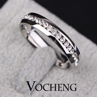 Wholesale Stainless Steel Ring Fast Colours Silver Gold Plated Colors with Crystal VR Vocheng Jewelry