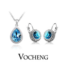 Bracelet,Earrings & Necklace Europe and America Women's Crystal Austrian Pendant Jewelry Sets White Gold Plated 2piece Dress 5colors (Vs-045) Vocheng Jewelry