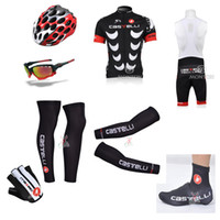 Wholesale Castelli Cycling Jerseys Set Short Sleeve Bike Wear Summer Outdoor Bicycle Clothing With Gloves Arms Sunglass Helmet Leg Warmer Shoes Cover