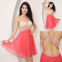 Wholesale SSJ New Real Images Cocktail Dresses With One Shoulder Crystals Beads Short Coral In Stock Backless Prom Party Homecoming Gowns AJ001
