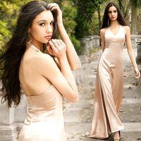 best actresses - Hot New Best Actress sexy deep v dress wedding party dress sense light installed evening dresses bridal party gown prom dress