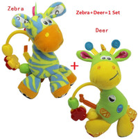 Teddy Bear Multicolor Plush PLAYGRO Deer Zebra Bed lathe Hanging Toys Rattles Baby Toy Kids Gifts Learning & Education Free Shipping 2pcs set