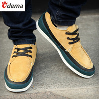 Wholesale ODEMA NEW Korean Genuine Suede Leather Casual Sneakers Fashion Men Sports Shoes Skateboard Shoes for Men