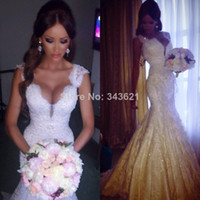 Other Model Pictures V-Neck Hot Sale Real Sexy Deep V-neck Lace Pearls Beaded Mermaid Charming White Wedding Dresses Custom Made RC-454