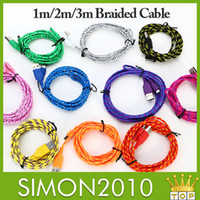 Wholesale USB Braided Cable ft ft f Nylon Woven Data Sync Charger Cord Cable Fabric Nylon Braided Woven Rope Sync USB Charger Data Cable adapter