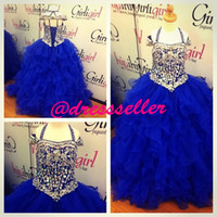 Wholesale 2014 New Arrival Princess Luxury Halter Corset Back Ball Gown Puffy Layers Royal Blue Organza Rhinstones Heavy Beaded Girl s Pageant Dresses