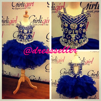 Reference Images cupcake pageant dresses girls - 2014 New Princess Two Straps Off Shoulder Keyhole Back Short Mini Layers Royal Blue Organza Rhinestones Bead Cupcake Girl s Pageant Dresses