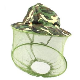 Wholesale bucket cap anti Mosquito nets hat camouflage fishing hat suncare multifunctional outdoor visor cap breathable face protection hs