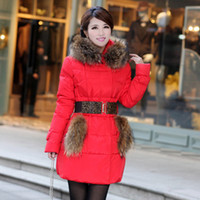 Wholesale ORIGINAL winter thick extra large fake fur collar down coat white duck feather women s medium long down jacket