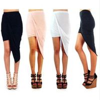 Wholesale Celebrity Style Fashion Womens Asymmetrical Jersey Ruched Shirred Tube Fitted Mini Skirt Ladies Irregular Skirts Free Shiping