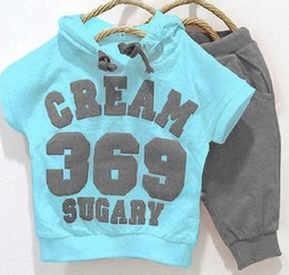 Wholesale 2013 clothing sets cotton kids clothing hooded short T shirt pant baby Boys and girls children s sports suit