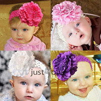 Cheap 2015 Fashion Cuty Baby Peony Flower Hair Clip with Stretchy Crochet Headband for Girl Pettiskirt