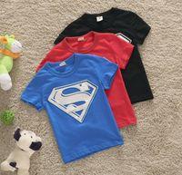 Wholesale Baby Boys Superman Short Sleeve Tshirt Children T shirt Kids Summer Clothes New