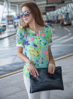 V-Neck Short Sleeve Regular Hot Sale blouse new Cool Summer puff sleeve flowers print Chiffon shirt short sleeve blouse women summer M~XXL W4358