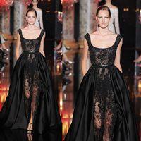 Reference Images Scoop Satin 2014 New Elie Saab Evening Dress Black Scoop Neckline Lace Beads Sheer Bodice Floor-Length Prom Dresses dhyz 01