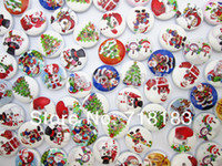 Wholesale mm mixed cute father christmas handmade small plaid kids wooden buttons sewing accessories scrapbooking