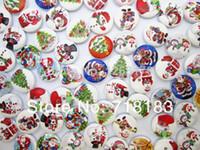 al por mayor botones de costura lindo-El envío libre 200pcs 15m m mezcló los pequeños botones de madera de los botones de madera de la tela escocesa de la Navidad linda del padre que scrapbooking 1