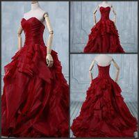 red ball gown wedding dress - 2015 Design Fashion Unique Fold Organza Red Ball Gown Wedding Dresses Ruched Sweetheart Neckline Wedding Gowns Ball No Sleeve Corset Tie