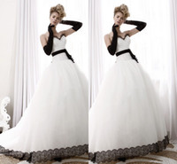 Wholesale 2015 Fashion Black and White Wedding Dresses For Bride with Lace Sweetheart Sleeveless Tulle Fabric Court Train Bridal Gowns High Quality