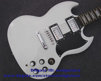 Solid Body 6 Strings Mahogany SG Matted White Mahogany Body Rosewood Fingerboard Mahogany Neck Neck-through H-H 2 Pickups Chromeplate Hardware Electric Guitar No.0016-8